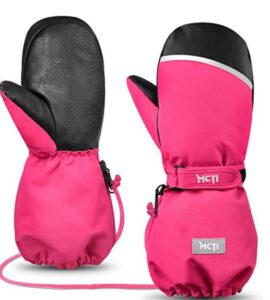 pink kids ski mittens