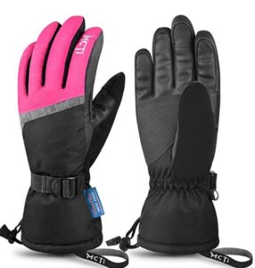 winter snowboard gloves with wrist leashes