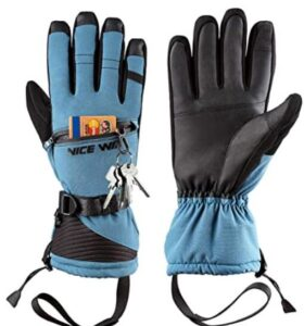 blue snowboarding gloves with zipper pocket