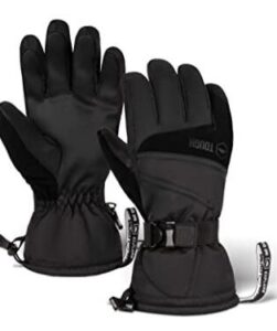 women snowboarding gloves with synthetic leather palm