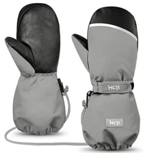 grey and white snowboard gloves