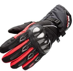 waterproof red dual sport motorcycle gloves