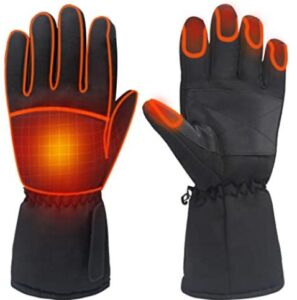 heated ski gloves with adjutable wrist band