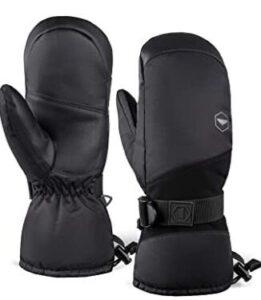 snowboard mittens with wrist strap