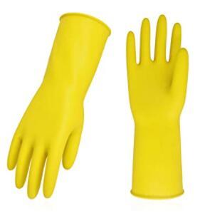yellow dishwashing gloves