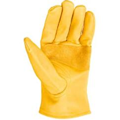 yellow leather work gloves