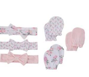 baby hand gloves and headband
